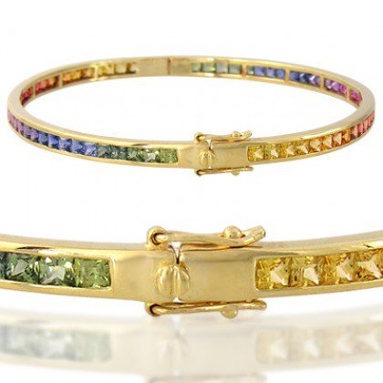 Rainbow Sapphire Eternity Oval Bangle 18K Yellow Gold (8ct tw) SKU: 1520-18K-YG