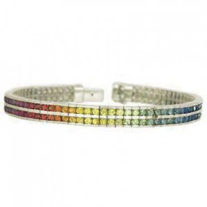 Rainbow Sapphire Double Row Tennis Bracelet 925 Sterling Silver (16ct tw) SKU: 903-925