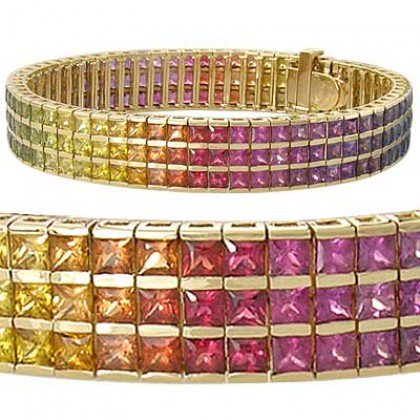 Rainbow Sapphire Tripple Row Channel Set Tennis Bracelet 14K Yellow Gold (30ct tw) SKU: 1613-14K-YG