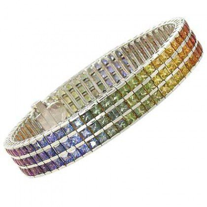 Rainbow Sapphire Tripple Row Channel Set Tennis Bracelet 18K White Gold (30ct tw) SKU: 1613-18K-WG