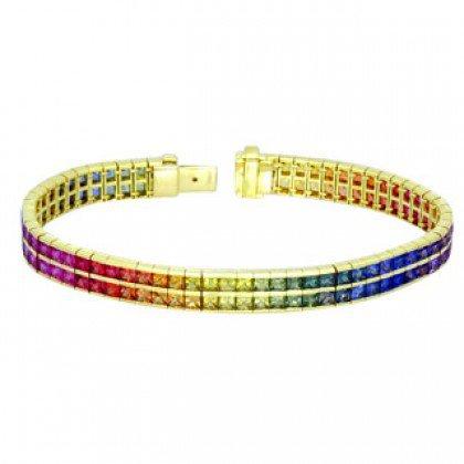 Rainbow Sapphire Double Row Tennis Bracelet 14K Yellow Gold (20ct tw) SKU: 439-14K-YG