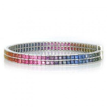 Rainbow Sapphire Double Row Tennis Bracelet 14K White Gold (20ct tw) SKU: 439-14K-WG