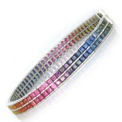 Rainbow Sapphire Double Row Tennis Bracelet 18K White Gold (20ct tw) SKU: 439-18K-WG