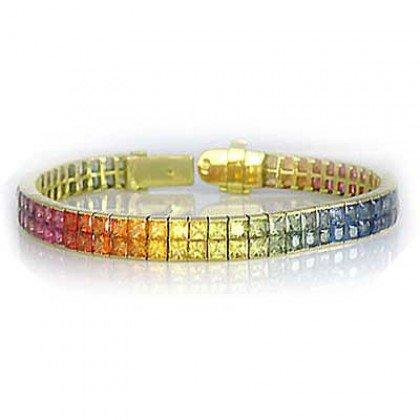 Rainbow Sapphire Double Row Invisible Set Tennis Bracelet 14K Yellow Gold (20ct tw) SKU: 410-14K-YG