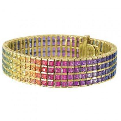 Rainbow Sapphire Channel Set 4 Row Tennis Bracelet 14K Yellow Gold (40ct tw) SKU: 1572-14K-YG