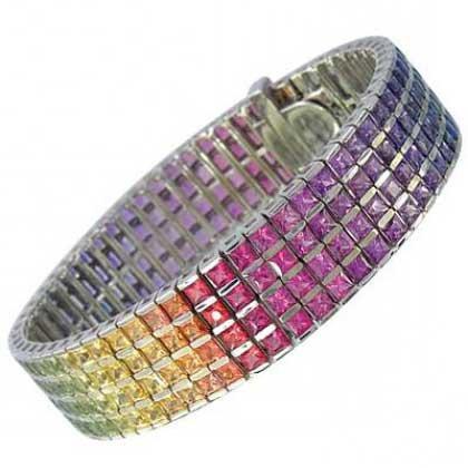 Rainbow Sapphire Channel Set 4 Row Tennis Bracelet 18K White Gold (40ct tw) SKU: 1572-18K-WG