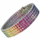 Rainbow Sapphire Channel Set 4 Row Tennis Bracelet 18K White Gold (40ct tw) SKU: 1572-18K-WG