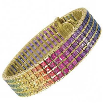 Rainbow Sapphire Channel Set 4 Row Tennis Bracelet 18K Yellow Gold (40ct tw) SKU: 1572-18K-YG