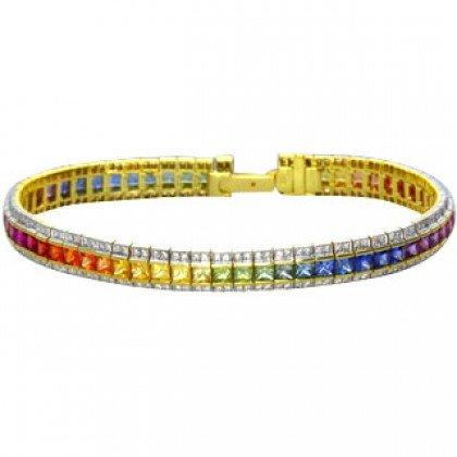 Rainbow Sapphire & Diamond Tennis Bracelet 14K Yellow Gold (14ct tw) SKU: 1612-14K-YG