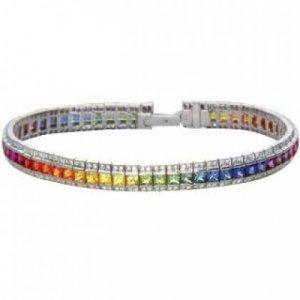 Rainbow Sapphire & Diamond Tennis Bracelet 14K White Gold (14ct tw) SKU: 1612-14K-WG