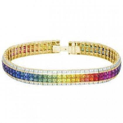 Rainbow Sapphire & Diamond Double Row Invisible Set Tennis Bracelet 18K YG (27ct tw) SKU: 471-18K-YG