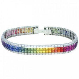 Rainbow Sapphire & Diamond Double Row Invisible Set Tennis Bracelet 18K WG (27ct tw) SKU: 471-18K-WG