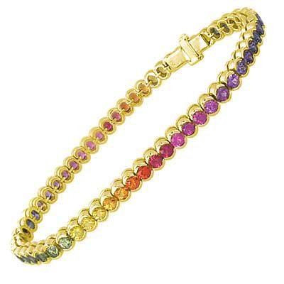 Rainbow Sapphire Bezel Set Tennis Bracelet 18K Yellow Gold (14ct tw) SKU: 1571-18K-YG
