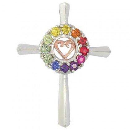 Rainbow Sapphire Heart Crucifix Religious Pendant 14K White Gold (0.6ct tw) SKU: 1573-14K-WG