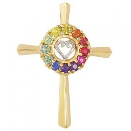 Rainbow Sapphire Heart Crucifix Religious Pendant 14K Yellow Gold (0.6ct tw) SKU: 1573-14K-YG