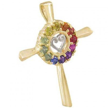 Rainbow Sapphire Heart Crucifix Religious Pendant 18K Yellow Gold (0.6ct tw) SKU: 1573-18K-YG