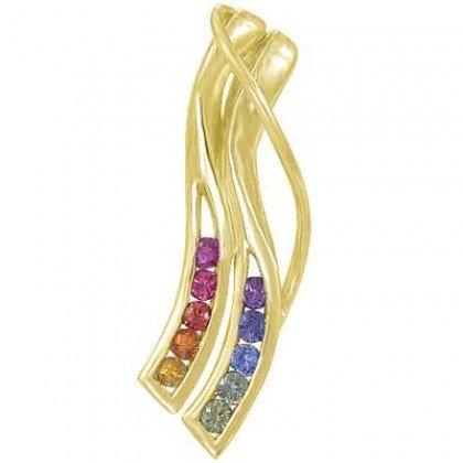 Rainbow Sapphire Slide Pendant 14K Yellow Gold (1/2ct tw) SKU: 1574-14K-YG