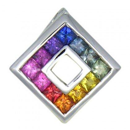 Rainbow Sapphire Small Square Pendant 14K White Gold (3/4ct tw) SKU: 436-14K-WG