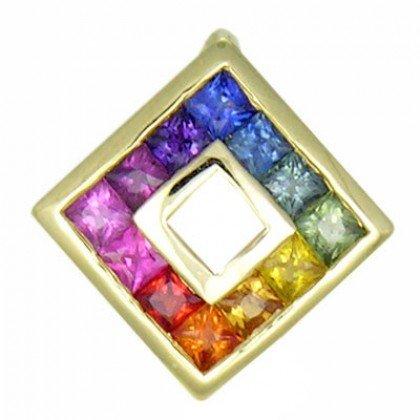 Rainbow Sapphire Small Square Pendant 14K Yellow Gold (3/4ct tw) SKU: 436-14K-YG
