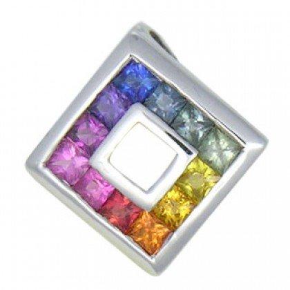 Rainbow Sapphire Small Square Pendant 18K White Gold (3/4ct tw) SKU: 436-18K-WG