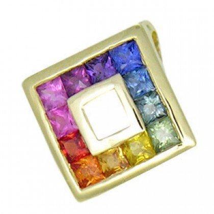 Rainbow Sapphire Small Square Pendant 18K Yellow Gold (3/4ct tw) SKU: 436-18K-YG