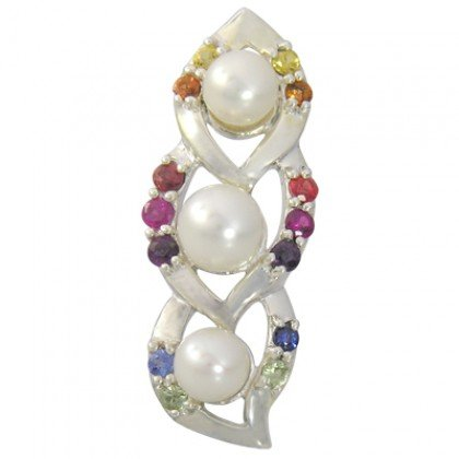 Rainbow Sapphire & Pearl Antique Style Pendant 925 Silver (1/2ct tw) SKU: 1465-925