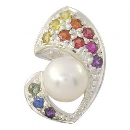 Rainbow Sapphire & Pearl Majestic Queens Pendant 925 Sterling Silver (1/2ct tw) SKU: 1468-925