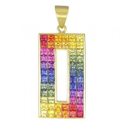 Rainbow Sapphire Invisible Set Rectangle Pendant 18K Yellow Gold (11ct tw) SKU: 1374-18K-YG