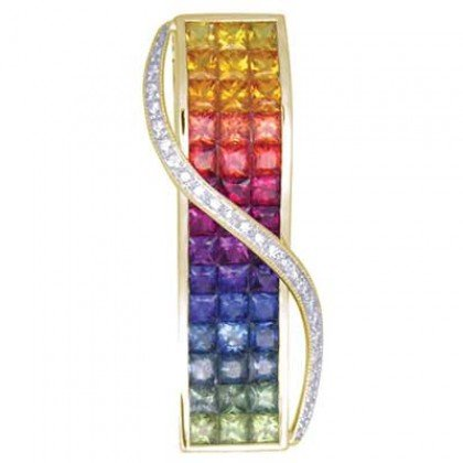 Rainbow Sapphire & Diamond Invisible Set Pendant 18K Yellow Gold (8.28ct tw) SKU: 472-18K-YG