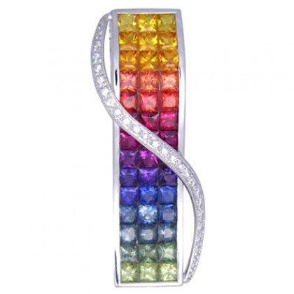 Rainbow Sapphire & Diamond Invisible Set Pendant 18K White Gold (8.28ct tw) SKU: 472-18K-WG