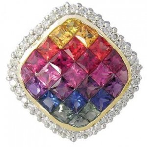 Rainbow Sapphire & Diamond Invisible Square Pendant 14K Yellow Gold (2.92ct tw) SKU: 429-14K-YG