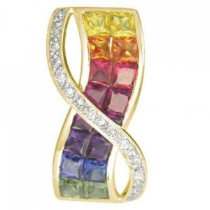 Rainbow Sapphire & Diamond Pendant Invisible Set Double Row 14K YG (3.1ct tw) SKU: 718-14K-YG