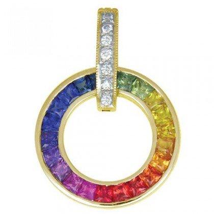 Rainbow Sapphire & Diamond Round Slide Pendant 14K Yellow Gold (2.48ct tw) SKU: 432-14K-YG
