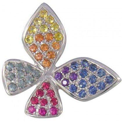 Rainbow Sapphire Stylish Butterfly Pendant 14K White Gold (1.07ct tw) SKU: 1542-14K-WG