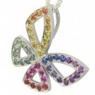 Rainbow Sapphire Classic Butterfly Pendant 925 Sterling Silver (0.87ct tw) SKU: 1543-925