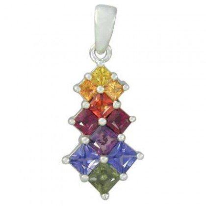 Rainbow Sapphire Princess Cut Journey Pendant 14K White Gold (1.15ct tw) SKU: 1466-14K-WG