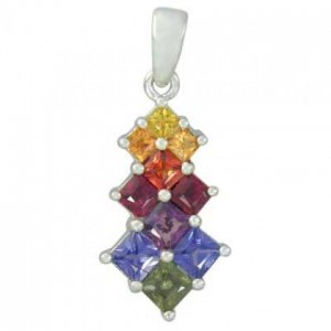 Rainbow Sapphire Princess Cut Journey Pendant 14K White Gold (1.15ct tw) SKU: 1466-14K-WG