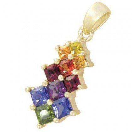 Rainbow Sapphire Princess Cut Journey Pendant 18K Yellow Gold (1.15ct tw) SKU: 1466-18K-YG
