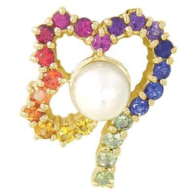 Rainbow Sapphire & Pearl Heart Shape Pendant 14K Yellow Gold (3/4ct tw) SKU: 1510-14K-YG