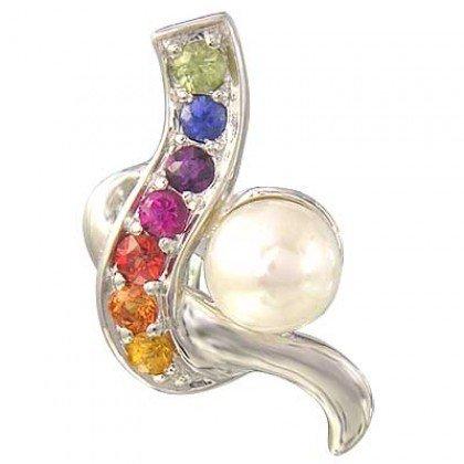 Rainbow Sapphire & Pearl Classic Pendant 14K White Gold (1/4ct tw) SKU: 1606-14K-WG