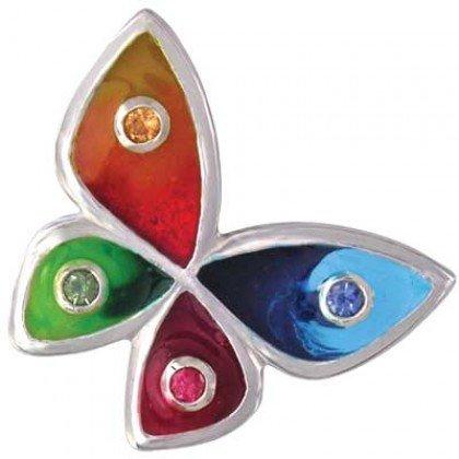 Rainbow Sapphire & Enamel Butterfly Pendant 925 Sterling Silver (3/4ct tw) SKU: 1544-925