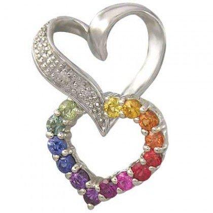 Rainbow Sapphire & Diamond Friendship Love Heart Pendant 14K WG (0.61ct tw) SKU: 1602-14K-WG