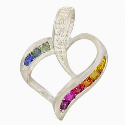 Rainbow Sapphire & Diamond Heart Shape Pendant 14K White Gold (1/2ct tw) SKU: 1455-14K-WG