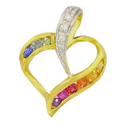 Rainbow Sapphire & Diamond Heart Shape Pendant 14K Yellow Gold (1/2ct tw) SKU: 1455-14K-YG
