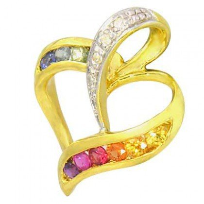 Rainbow Sapphire & Diamond Heart Shape Pendant 18K Yellow Gold (1/2ct tw) SKU: 1455-18K-YG
