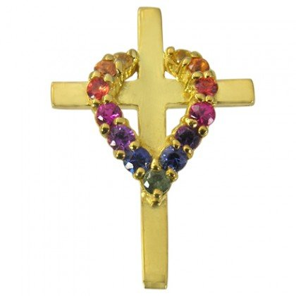 Rainbow Sapphire Heart on Cross Pendant 14K Yellow Gold (3/4ct tw) SKU: 1463-14K-YG