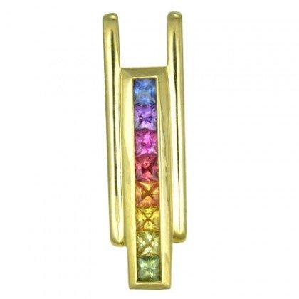 Rainbow Sapphire Bar Pendant 14K Yellow Gold (1.2ct tw) SKU: 309-14K-YG