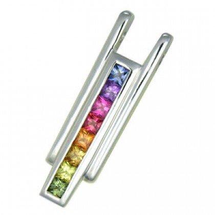 Rainbow Sapphire Bar Pendant 18K White Gold (1.2ct tw) SKU: 309-18K-WG