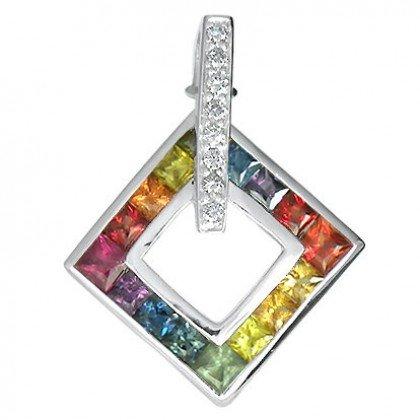 Rainbow Sapphire & Diamond Large Square Pendant 14K White Gold (1.37ct tw) SKU: 431-14K-WG