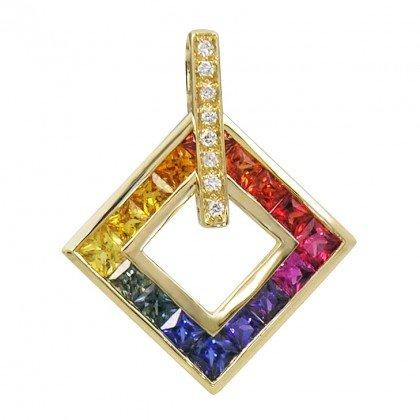 Rainbow Sapphire & Diamond Large Square Pendant 14K Yellow Gold (1.37ct tw) SKU: 431-14K-YG